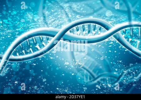 Doppelte Helix DNA Kette brillant. Konzept von Wissenschaft, Medizin und Forschung