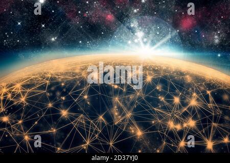 3D-Illustration. Linien, die die Erde vom Weltraum aus mit hellem Sonnenlicht verbinden. Konzept des sozialen und geschäftlichen Netzwerks. Keine Personen. 3D-Rende