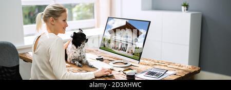 Real Estate Fotos Auf Computer. Professioneller Immobilienmakler - Stockfoto