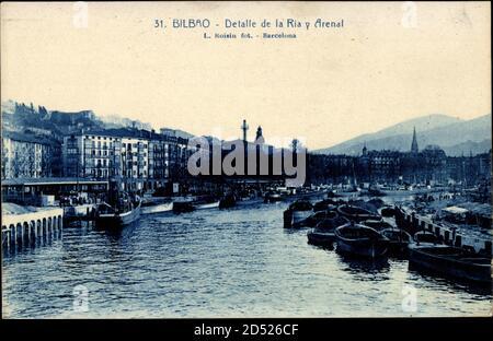 Bilbao Bassenland, Detalle de la Ria y Arenal, Hafen, Boote - weltweite Nutzung - Stockfoto
