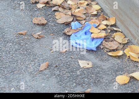 Zerknitterte medizinische Handschuhe liegen auf dem Boden in einem Haufen Herbstblätter.Plastikverschmutzung durch Covid 19 verursacht.