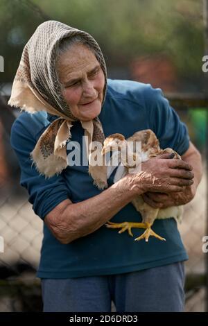 Alte Bäuerin, die ihr Hühnchen-Haustier im Freien hält