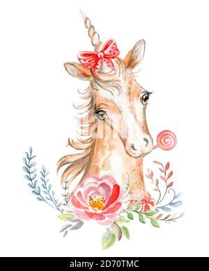 Aquarell Einhorn mit schönen Blumen und Süßigkeiten - Stockfoto