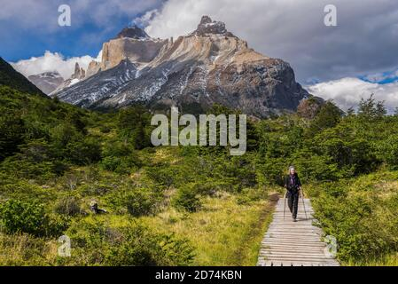 Frauen wandern im Torres del Paine Nationalpark mit Los Cuernos und dem Paine Massiv dahinter, Patagonien, Chile - Stockfoto