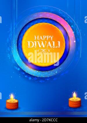 Dekorative brennende Öl Diya auf Happy Diwali Urlaub Hintergrund für Light Festival von Indien - Stockfoto