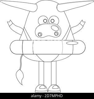Malvorlagen. Ochse. Kuh oder Stier niedlichen Charakter - Stockfoto