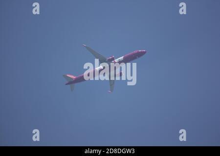 Chiangmai, Thailand - Oktober 25 2020: HS-VKM A321-200 der thailändischen Vietjet Fluggesellschaft. Fahren Sie vom internationalen Flughafen Chiang Mai zum Flughafen Bangkok. - Stockfoto