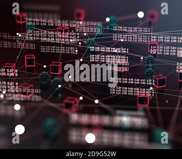Big Data und Kommunikation. Internet und Datenanalyse im Web. Teamarbeit und IT-Software-Programmierung.3d-Illustration.Technologie und Wissenschaft