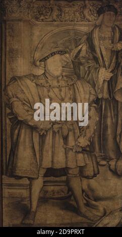 König Heinrich VIII. (1491-1547) und sein Vater König Heinrich VII. (1457-1509). Vorbereitende Zeichnung des Wandbildes für Whitehall Palace des Malers Hans Holbein d. J. (1497/1498-1543). Dieses Gemälde wurde im Whitehall Palace Feuer von 1698 zerstört, nur die vorbereitende Zeichnung überlebte. Tinte und Aquarell auf Papier, c. 1536-1537. National Portrait Gallery. London, England, Vereinigtes Königreich.