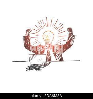 Hand gezeichnet Geschäftsmann immer große Idee Stockfoto
