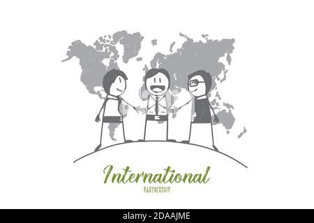 Handgezeichnete internationale Begrüßung der Gäste Stockfoto