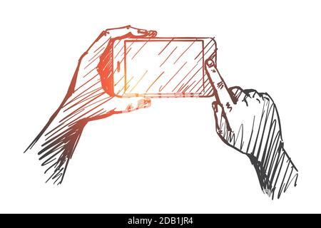 Handgezeichnetes Gadget in menschlichen Händen Stockfoto