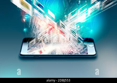 Verschlüsselte mobile Daten von einem Smartphone, 5G Steaming Service Kreative abstrakte mobile Internet Web-Kommunikation Sicherheit und Sicherheit Business commerci