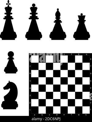 Editierbare Vektor-Silhouetten aus einem Satz von Standard-Schachfiguren und einem Schachbrett. - Stockfoto