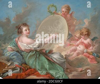 François Boucher, (Künstler), Französisch, 1703 - 1770, Allegorie der Malerei, 1765, Öl auf Leinwand, insgesamt: 101.5 x 130 cm (39 15/16 x 51 3/16 Zoll), gerahmt: 129.5 x 157.5 cm (51 x 62 Zoll
