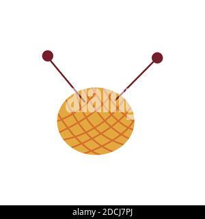 Garnknäuel. Strickfäden und Nadeln. Runder Garnknäuel. Wolle oder Baumwolle. Bunte Vektor isolierte Illustration handgezeichnete Symbol