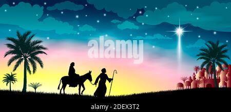 Maria und Josef vor dem Hintergrund des Sterns von Bethlehem. Ihre Reise. Wüste, Sternenhimmel, Stadt Bethlehem. Die biblische Szene auf Th