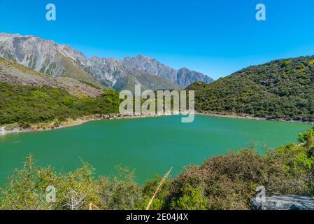 Blaue Seen in der Nähe des Tasman Gletschers bei Aoraki / Mt Cook Nationalpark in Neuseeland
