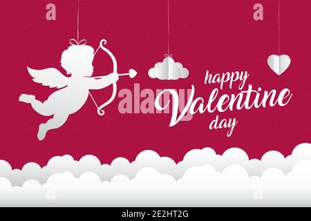 Happy valentines Tag Amor mit Wolken der Liebe Leidenschaft und Romantisches Thema Vektor-Illustration Stockfoto