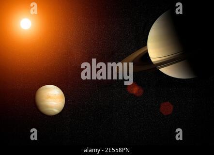 Große Konjunktion: Venus und Saturn. Venus und Saturn treffen sich im Sonnensystem des Weltraums. Elemente dieses Bildes, die von der NASA eingerichtet wurden. - Stockfoto