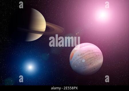 Große Konjunktion: Jupiter und Saturn. Jupiter und Saturn treffen sich im Sonnensystem des Weltraums. Elemente dieses Bildes, die von der NASA eingerichtet wurden. - Stockfoto