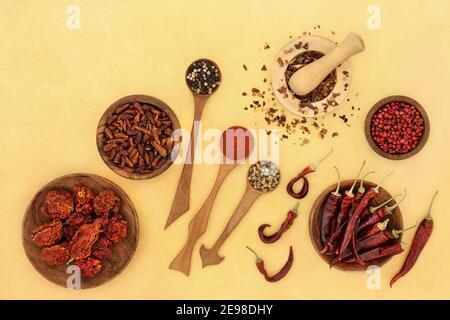 Scharfe Chili-Pfeffer Kräuter- und Gewürzauswahl mit Paprika, Pfefferkörnern und Chilipulver in Holzlöffeln, Schüsseln und Mörser mit Stößel auf meliertem Yello