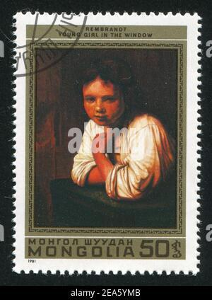 MONGOLEI - UM 1981: Briefmarke gedruckt von der Mongolei, zeigt junges Mädchen im Fenster, von Rembrandt, um 1981