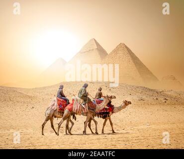 Camel Caravan und die Pyramiden von Gizeh in Ägypten