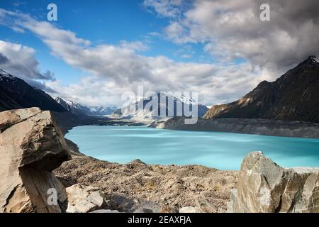 Tasman Lake, ein voreisiger See, der vor kurzem vom Tasman Glacier auf der Südinsel Neuseelands im Aoraki Mt Cook National Park gebildet wurde