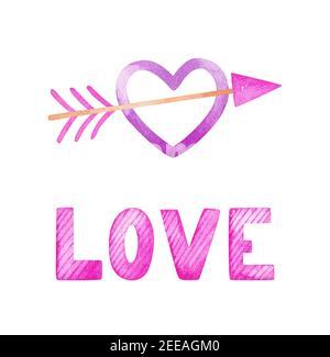 Valentinstag Aquarell Set. Herz durchbohrt von einem Pfeil und der Inschrift Love in rosa Farben. Festliche romantische Cliparts.