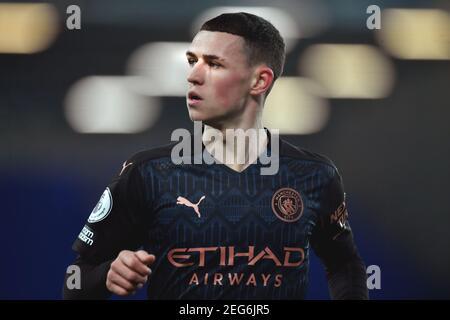Liverpool, Großbritannien, 17th. Februar 2021. Phil Foden von Manchester City. Kredit: Anthony Devlin/Alamy Live Nachrichten
