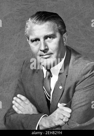 Wernher von Braun. Porträt des deutsch-amerikanischen Raumfahrtingenieurs und Raketenpioniers, Wernher Magnus Maximilian Freiherr von Braun (1912-1977), 1960