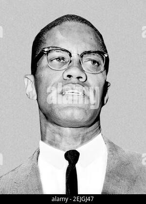 Malcolm X. Porträt des muslimischen Menschenrechtsaktivisten Malcolm X ( B. Malcolm Little, 1925-1965), 1964