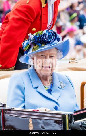 Königin Elizabeth II. Während des ersten Tages von Royal Ascot auf der Ascot Rennbahn. (Foto von DPPA/Sipa USA)
