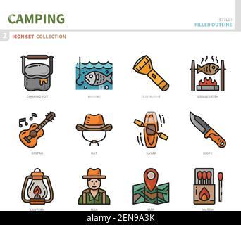 Camping Icon Set, gefüllte Umrissstil, Vektor und Illustration Stockfoto