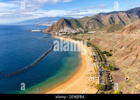 Teneriffa Strand Teresitas Kanarische Inseln Meer Wasser Spanien Reisen Atlantik Natur.