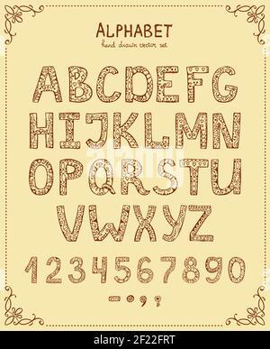 Handschrift Alphabet, Vektor Hand gezeichnet Schriftart im Vintage-Stil Stockfoto