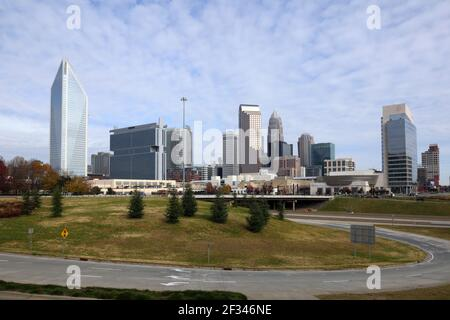 Geographie / Reisen, USA, North Carolina, Charlotte, Skyline von Charlotte, Charlotte, North Carolina, Zusätzliche-Rights-Clearance-Info-Not-Available - Stockfoto
