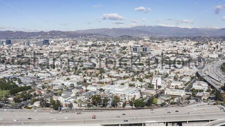 Downtown Los Angeles , die 110 und 10 Autobahnen aus dem Süden - South Los Angeles, Los Angeles, California, USA (US)