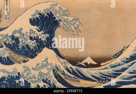 Autor: Katsushika Hokusai. Under the Wave off Kanagawa (Kanagawa oki nami ura), auch bekannt als die große Welle, aus der Serie - - sechsunddreißig Ansichten