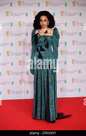 Celeste Epiphany Waite kommt für die EE BAFTA Film Awards in der Royal Albert Hall in London an. Bilddatum: Sonntag, 11. April 2021. Stockfoto