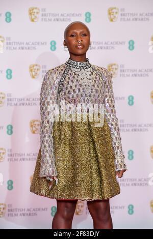 Cynthia Erivo kommt für die EE BAFTA Film Awards in der Royal Albert Hall in London an. Bilddatum: Sonntag, 11. April 2021. Stockfoto