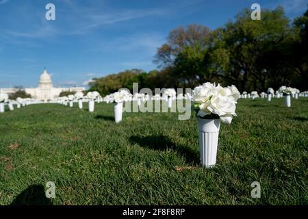 Washington, USA. April 2021. Das am 13. April 2021 aufgenommene Foto zeigt 40,000 weiße Seidenblumen, die in der National Mall installiert wurden, um die fast 40,000 Amerikaner zu ehren, die jedes Jahr durch Waffengewalt in Washington, DC, den Vereinigten Staaten, sterben. Quelle: Liu Jie/Xinhua/Alamy Live News Stockfoto