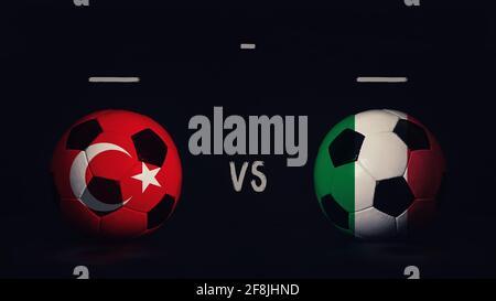 Bekanntgabe des Fußballspieltages der Türkei gegen Italien zur Fußball-Europameisterschaft 2020. Zwei Fußballbälle mit Länderflaggen, mit Spielinfografik, isoliert auf schwarzem Hintergrund