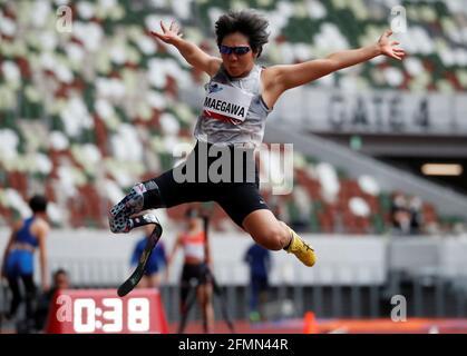 Kaede Maegawa aus Japan tritt während des Weitsprungwettbewerbes der Frauen beim Paralympics-Leichtathletiktest in Tokio 2020 im Olympiastadion (Nationalstadion) in Tokio, Japan, am 11. Mai 2021 an. REUTERS/Issei Kato