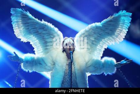 Rotterdam, Niederlande. Mai 2021. Sänger Tix aus Norwegen tritt bei der Generalprobe für das erste Halbfinale des Eurovision Song Contest 2021 in der Ahoy Arena in Rotterdam auf. Quelle: Vyacheslav Prokofyev/TASS/Alamy Live News