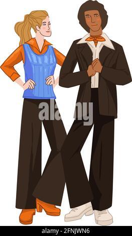 Mann und Frau, Paar in Kleidung aus den 1970er Jahren