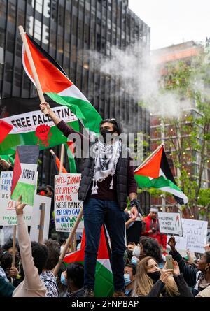 Kundgebung für Palästina im Lichte der jüngsten eskalierenden Ereignisse zwischen Gaza, Palästina und Israel. Mai 2021 Midtown, NY