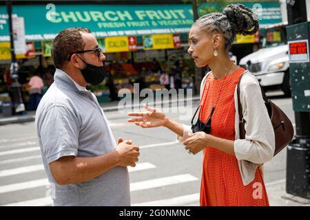 Maya Wiley, demokratische Kandidatin für die Bürgermeisterin von New York City, Kampagnen in Brooklyn, New York, USA, Juni 2, 2021. REUTERS/Brendan McDermid
