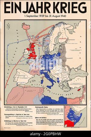 Eine alte Nazi-Karte, die die Invasion Großbritanniens zeigt und einen einjährigen Krieg umreißt